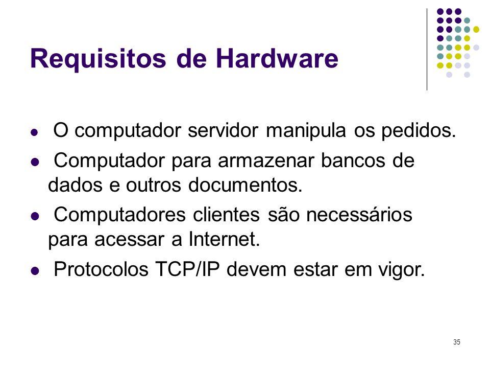 35 Requisitos de Hardware O computador servidor manipula os pedidos. Computador para armazenar bancos de dados e outros documentos. Computadores clien