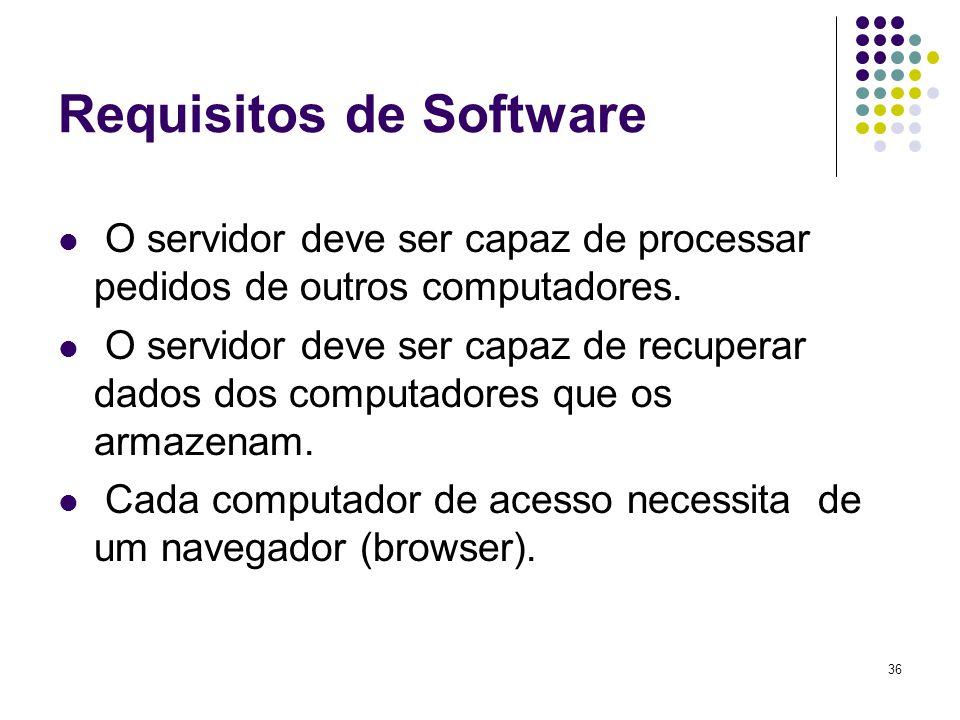 36 Requisitos de Software O servidor deve ser capaz de processar pedidos de outros computadores. O servidor deve ser capaz de recuperar dados dos comp