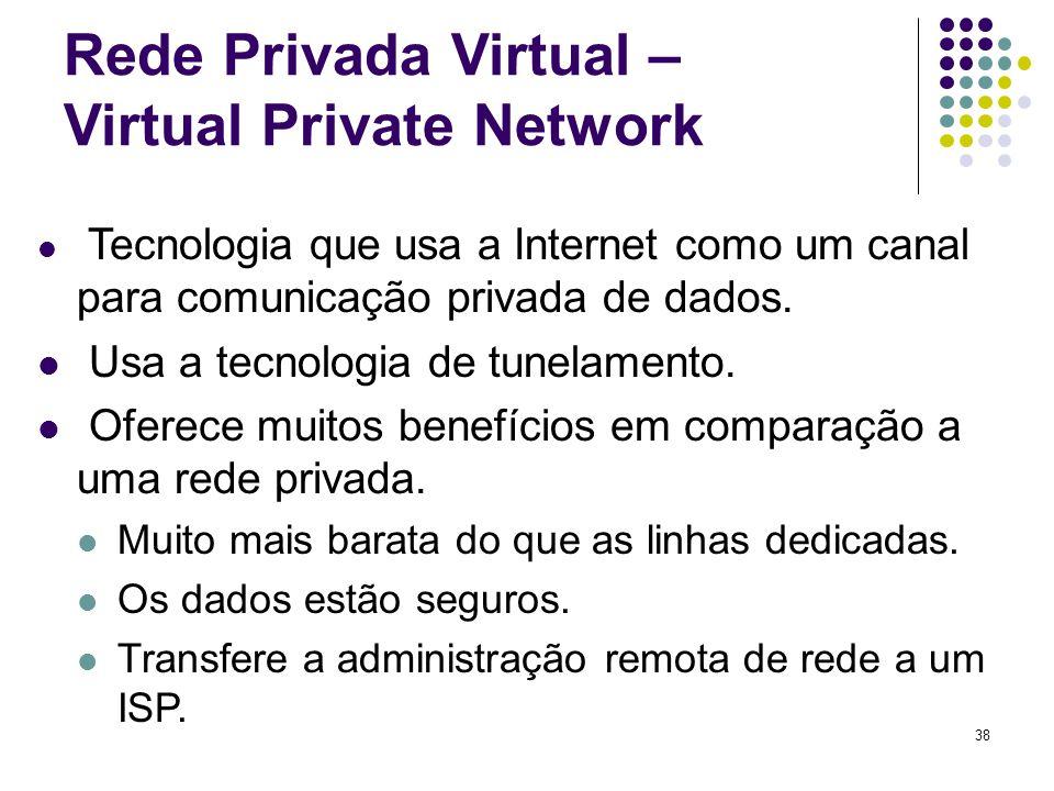 38 Rede Privada Virtual – Virtual Private Network Tecnologia que usa a Internet como um canal para comunicação privada de dados. Usa a tecnologia de t