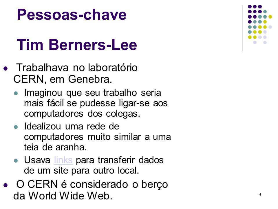 4 Tim Berners-Lee Trabalhava no laboratório CERN, em Genebra. Imaginou que seu trabalho seria mais fácil se pudesse ligar-se aos computadores dos cole