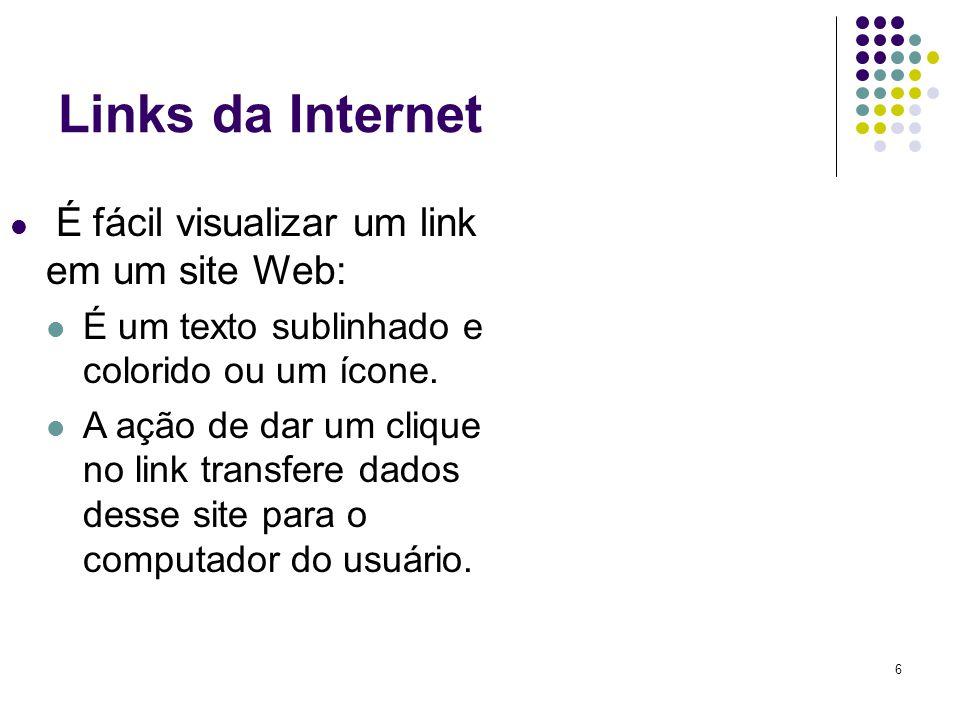 6 Links da Internet É fácil visualizar um link em um site Web: É um texto sublinhado e colorido ou um ícone. A ação de dar um clique no link transfere