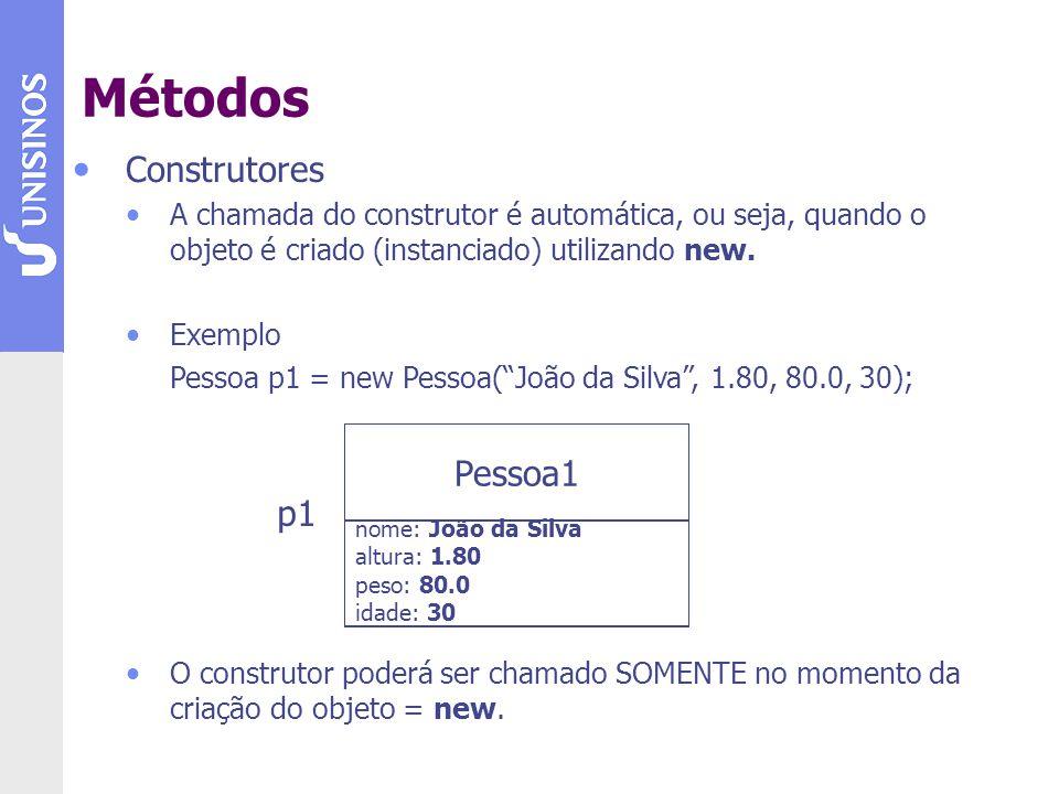 Construtores A chamada do construtor é automática, ou seja, quando o objeto é criado (instanciado) utilizando new. Exemplo Pessoa p1 = new Pessoa(João