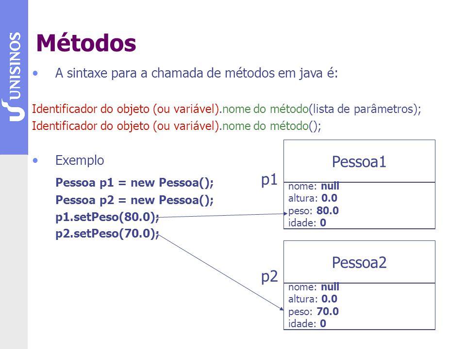 A sintaxe para a chamada de métodos em java é: Identificador do objeto (ou variável).nome do método(lista de parâmetros); Identificador do objeto (ou