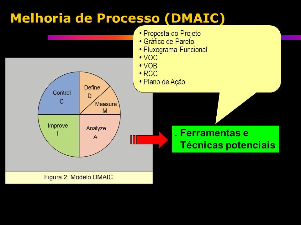 . Ferramentas e Técnicas potenciais Proposta do Projeto Gráfico de Pareto Fluxograma Funcional VOC VOB RCC Plano de Ação Melhoria de Processo (DMAIC)
