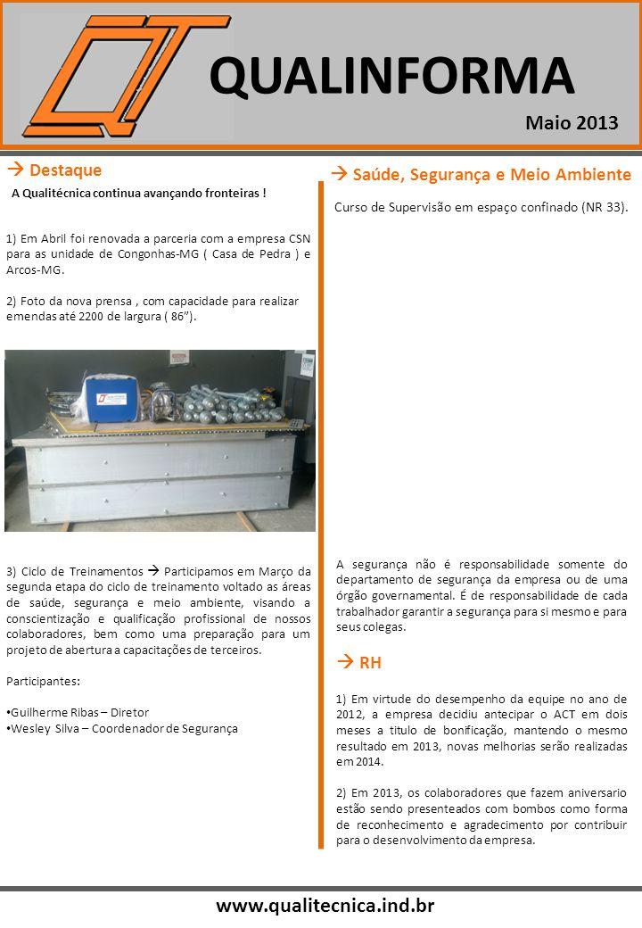 QUALINFORMA www.qualitecnica.ind.br Maio 2013 Destaque A Qualitécnica continua avançando fronteiras ! 1) Em Abril foi renovada a parceria com a empres