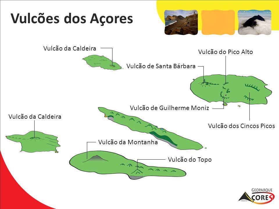 Vulcão da Caldeira Vulcão do Topo Vulcão da Montanha Vulcão da Caldeira Vulcão de Santa Bárbara Vulcão de Guilherme Moniz Vulcão do Pico Alto Vulcão d