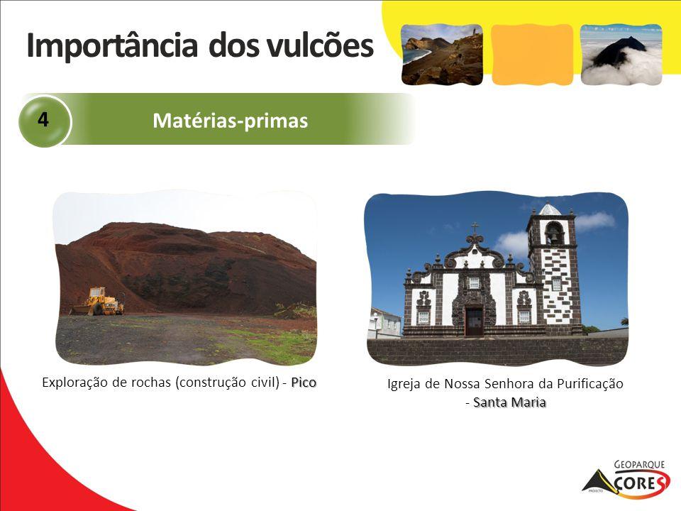 Pico Exploração de rochas (construção civil) - Pico Matérias-primas 4 Santa Maria Igreja de Nossa Senhora da Purificação - Santa Maria Importância dos