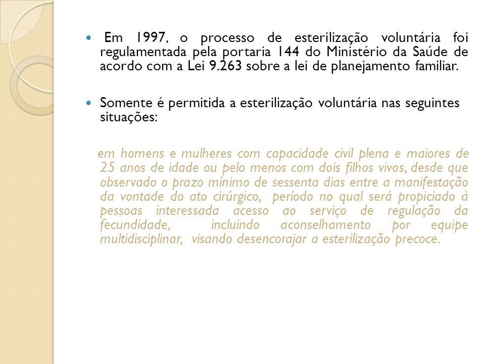 Em 1997, o processo de esterilização voluntária foi regulamentada pela portaria 144 do Ministério da Saúde de acordo com a Lei 9.263 sobre a lei de pl