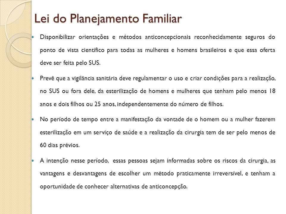 Lei do Planejamento Familiar Disponibilizar orientações e métodos anticoncepcionais reconhecidamente seguros do ponto de vista científico para todas as mulheres e homens brasileiros e que essa oferta deve ser feita pelo SUS.