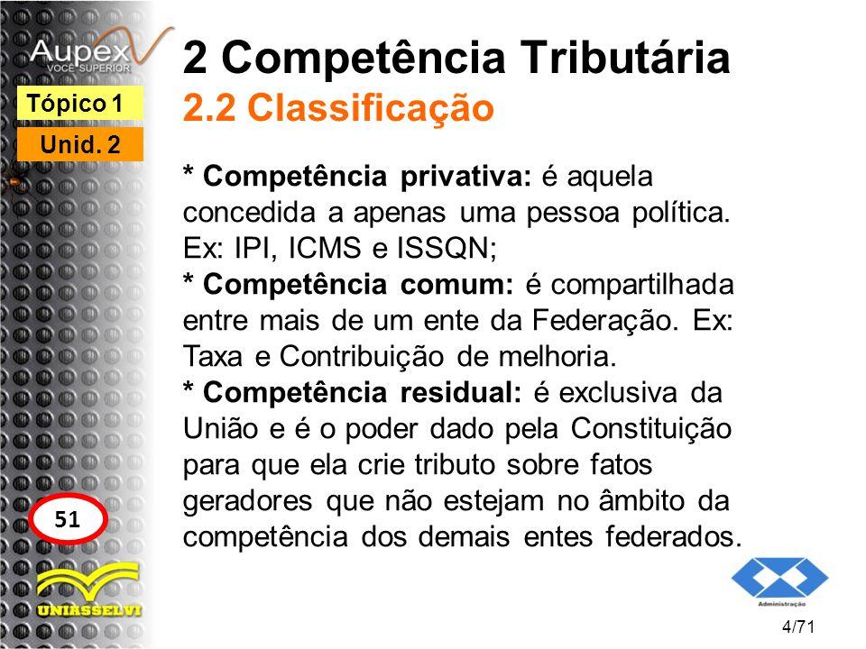 2 Competência Tributária 2.2 Classificação * Competência privativa: é aquela concedida a apenas uma pessoa política. Ex: IPI, ICMS e ISSQN; * Competên