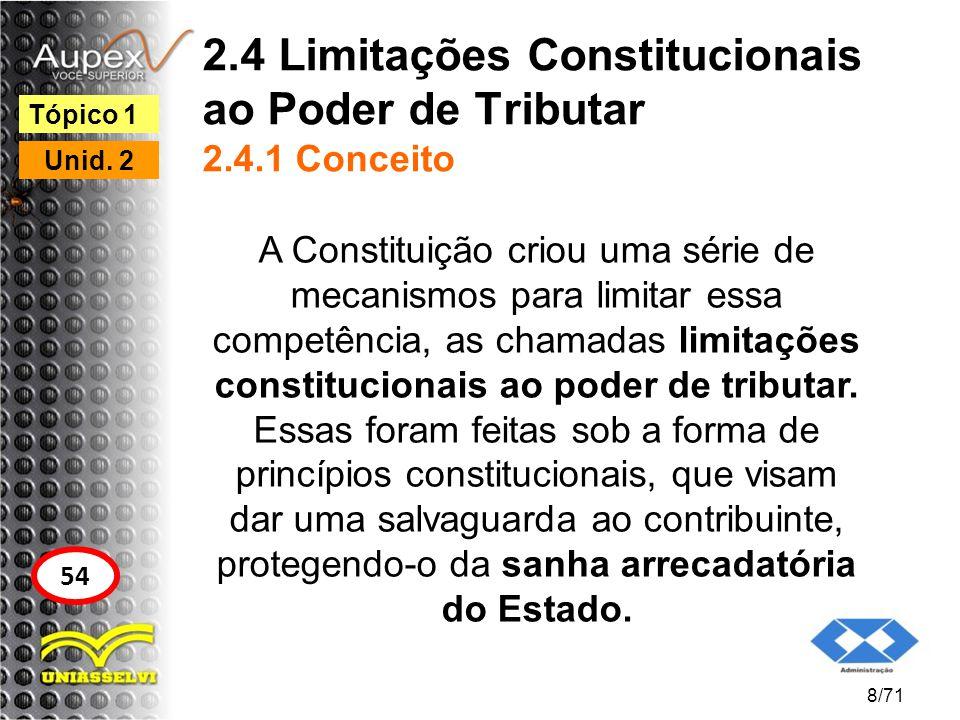 2.4 Limitações Constitucionais ao Poder de Tributar 2.4.1 Conceito A Constituição criou uma série de mecanismos para limitar essa competência, as cham