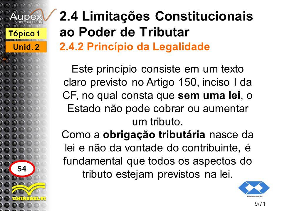 2.4 Limitações Constitucionais ao Poder de Tributar 2.4.2 Princípio da Legalidade Este princípio consiste em um texto claro previsto no Artigo 150, in