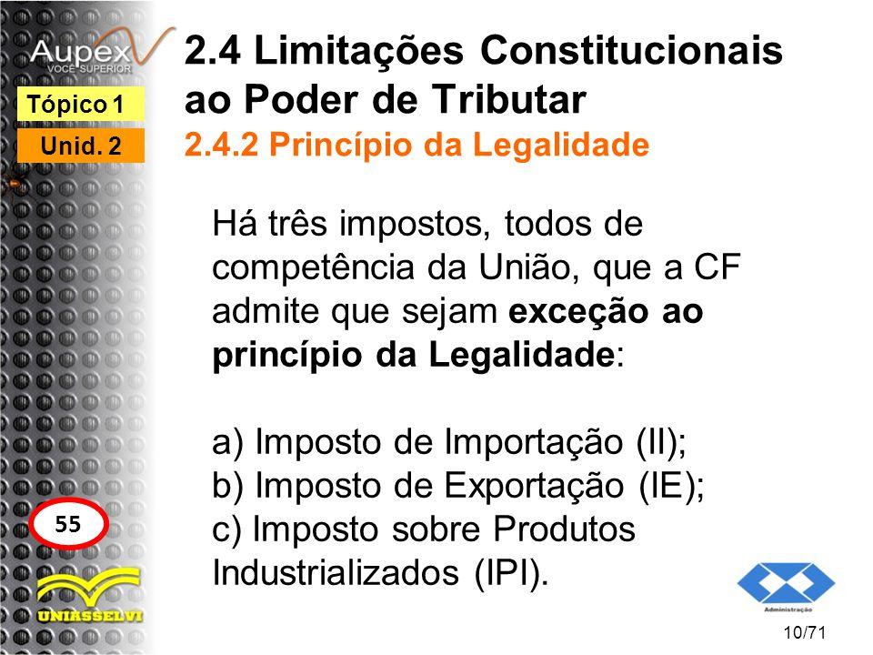 2.4 Limitações Constitucionais ao Poder de Tributar 2.4.2 Princípio da Legalidade Há três impostos, todos de competência da União, que a CF admite que
