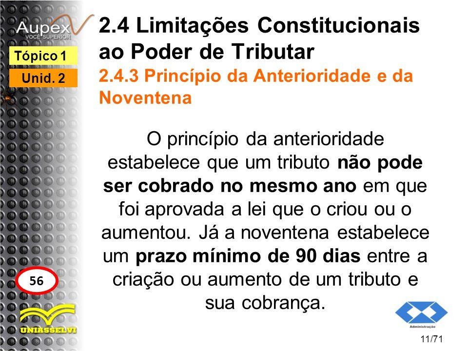 2.4 Limitações Constitucionais ao Poder de Tributar 2.4.3 Princípio da Anterioridade e da Noventena O princípio da anterioridade estabelece que um tri