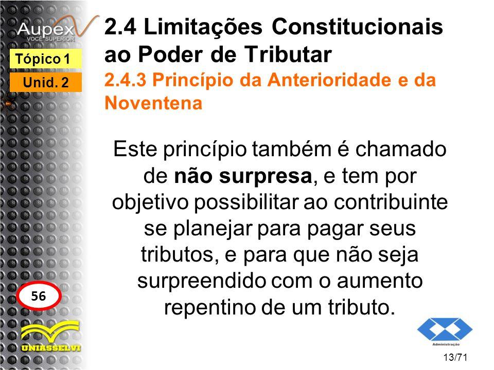 2.4 Limitações Constitucionais ao Poder de Tributar 2.4.3 Princípio da Anterioridade e da Noventena Este princípio também é chamado de não surpresa, e