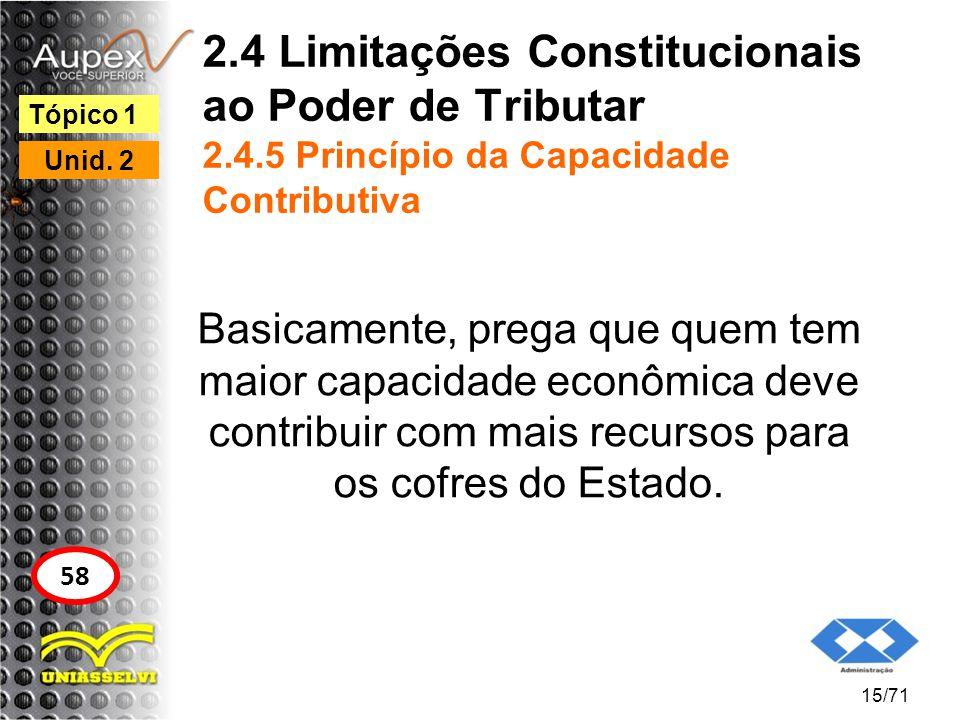 2.4 Limitações Constitucionais ao Poder de Tributar 2.4.5 Princípio da Capacidade Contributiva Basicamente, prega que quem tem maior capacidade econôm
