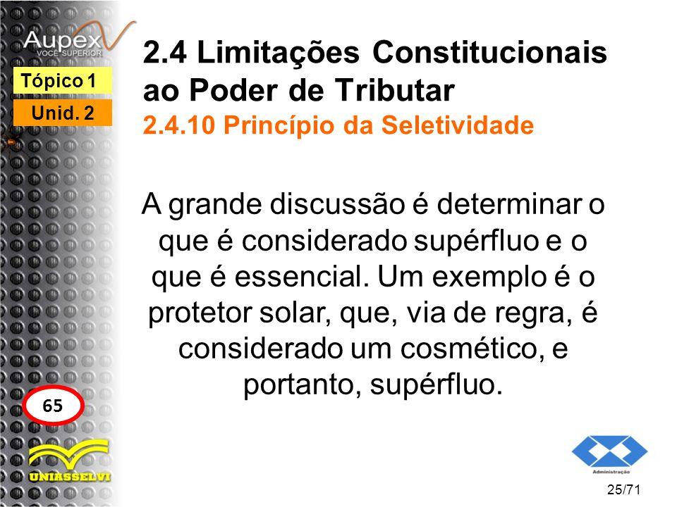 2.4 Limitações Constitucionais ao Poder de Tributar 2.4.10 Princípio da Seletividade A grande discussão é determinar o que é considerado supérfluo e o