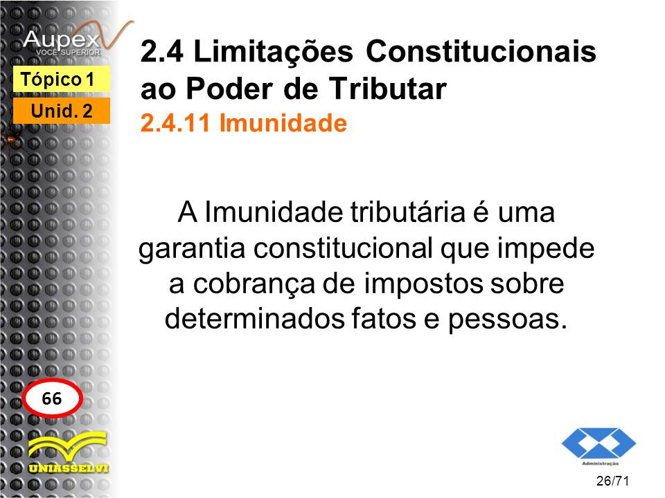 2.4 Limitações Constitucionais ao Poder de Tributar 2.4.11 Imunidade A Imunidade tributária é uma garantia constitucional que impede a cobrança de imp
