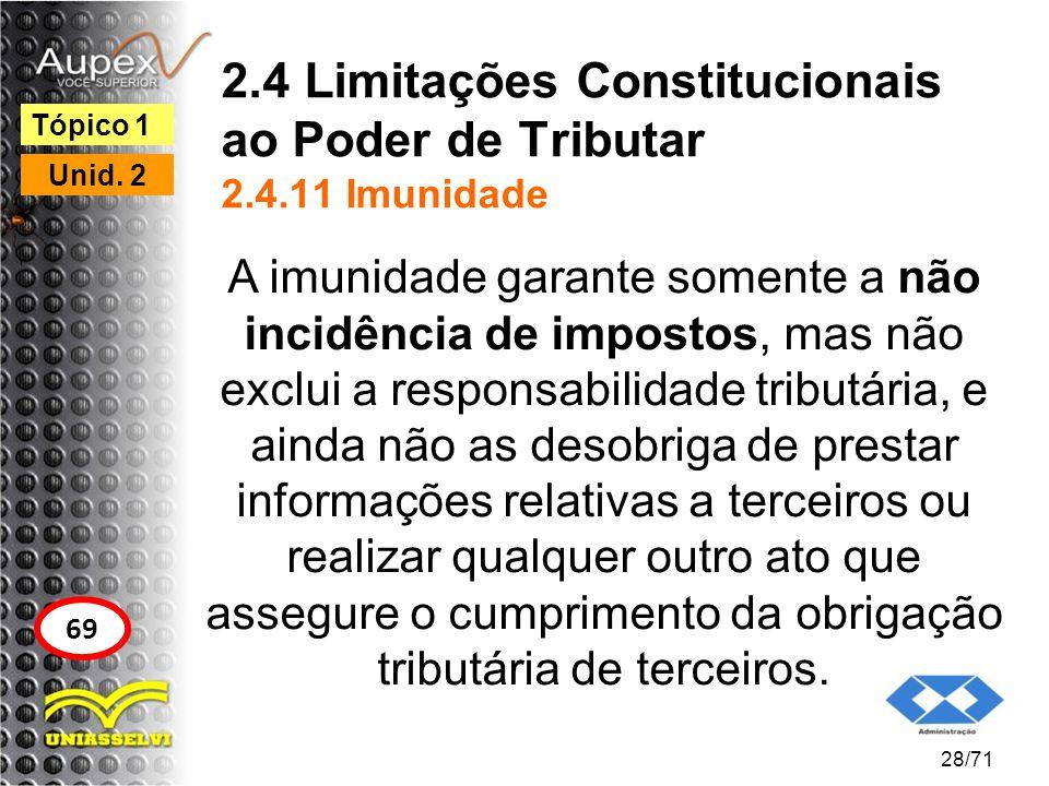 2.4 Limitações Constitucionais ao Poder de Tributar 2.4.11 Imunidade A imunidade garante somente a não incidência de impostos, mas não exclui a respon