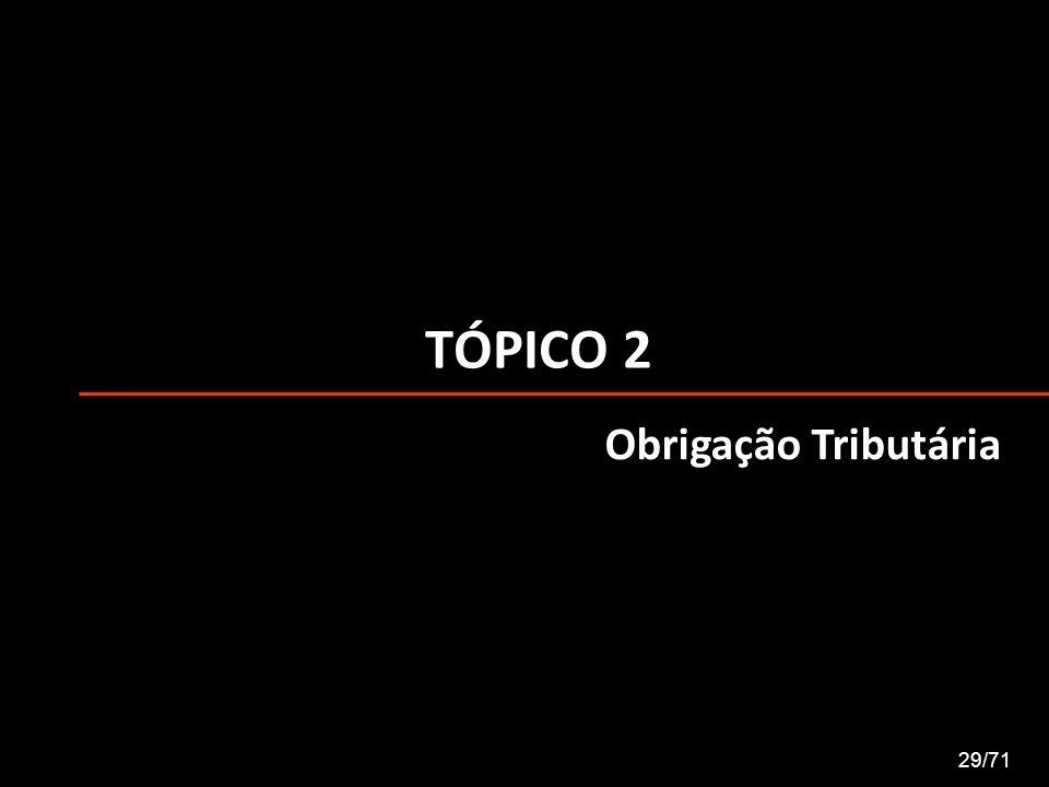 TÓPICO 2 29/71 Obrigação Tributária