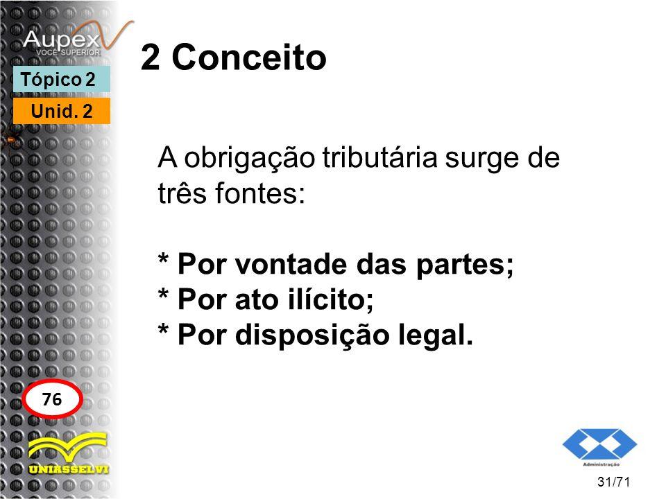 2 Conceito A obrigação tributária surge de três fontes: * Por vontade das partes; * Por ato ilícito; * Por disposição legal. 31/71 Tópico 2 Unid. 2 76