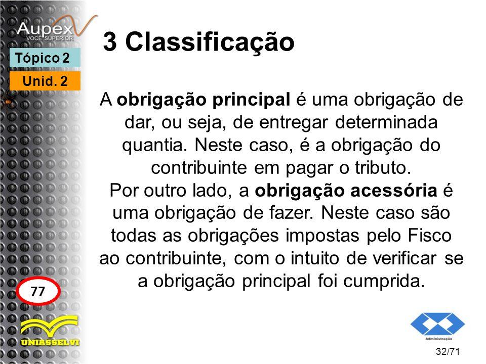 3 Classificação A obrigação principal é uma obrigação de dar, ou seja, de entregar determinada quantia. Neste caso, é a obrigação do contribuinte em p