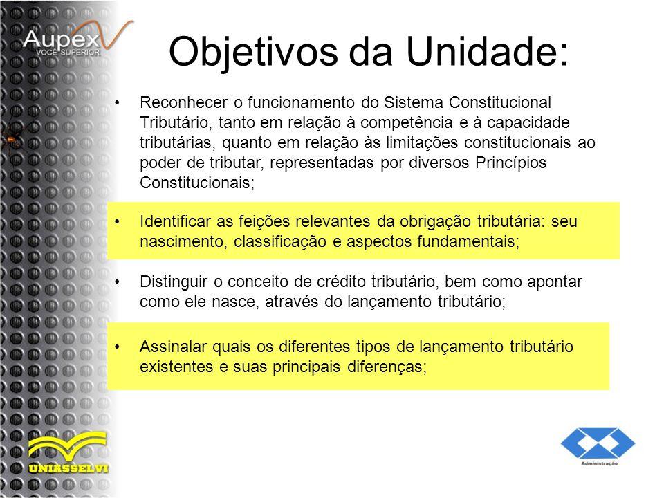 Objetivos da Unidade: Reconhecer o funcionamento do Sistema Constitucional Tributário, tanto em relação à competência e à capacidade tributárias, quan