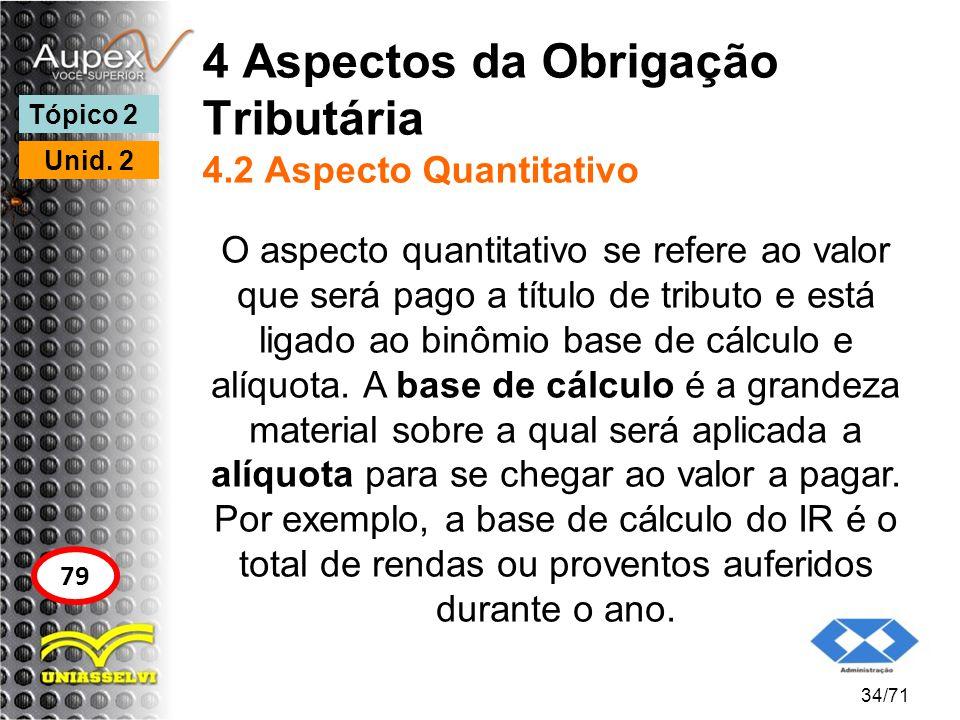 4 Aspectos da Obrigação Tributária 4.2 Aspecto Quantitativo O aspecto quantitativo se refere ao valor que será pago a título de tributo e está ligado