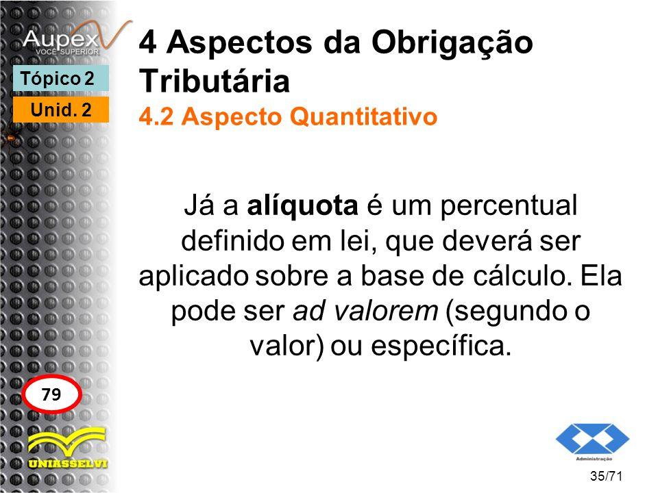 4 Aspectos da Obrigação Tributária 4.2 Aspecto Quantitativo Já a alíquota é um percentual definido em lei, que deverá ser aplicado sobre a base de cál