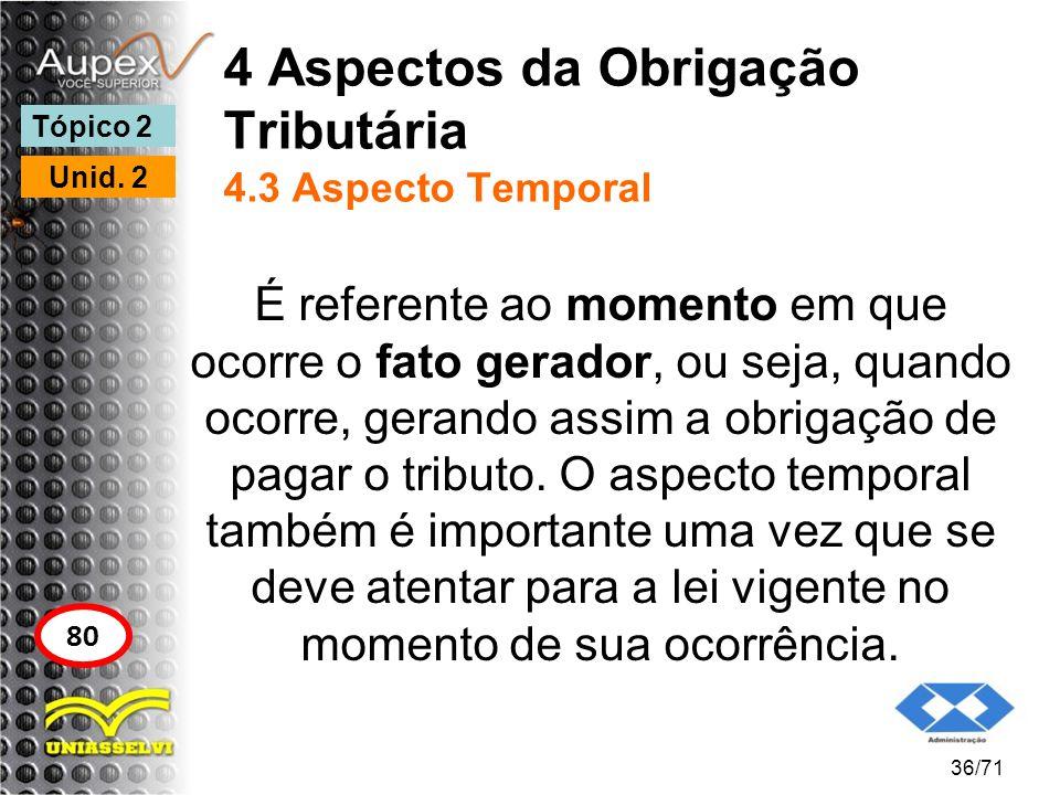 4 Aspectos da Obrigação Tributária 4.3 Aspecto Temporal É referente ao momento em que ocorre o fato gerador, ou seja, quando ocorre, gerando assim a o