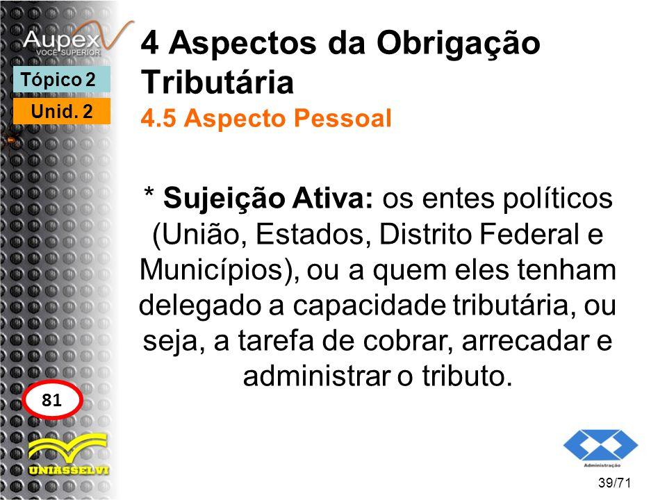 4 Aspectos da Obrigação Tributária 4.5 Aspecto Pessoal * Sujeição Ativa: os entes políticos (União, Estados, Distrito Federal e Municípios), ou a quem