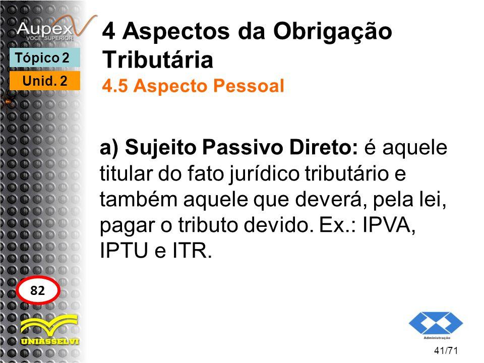 4 Aspectos da Obrigação Tributária 4.5 Aspecto Pessoal a) Sujeito Passivo Direto: é aquele titular do fato jurídico tributário e também aquele que dev