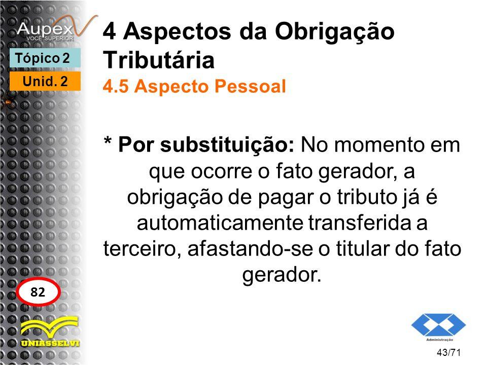 4 Aspectos da Obrigação Tributária 4.5 Aspecto Pessoal * Por substituição: No momento em que ocorre o fato gerador, a obrigação de pagar o tributo já