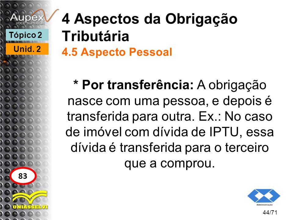 4 Aspectos da Obrigação Tributária 4.5 Aspecto Pessoal * Por transferência: A obrigação nasce com uma pessoa, e depois é transferida para outra. Ex.: