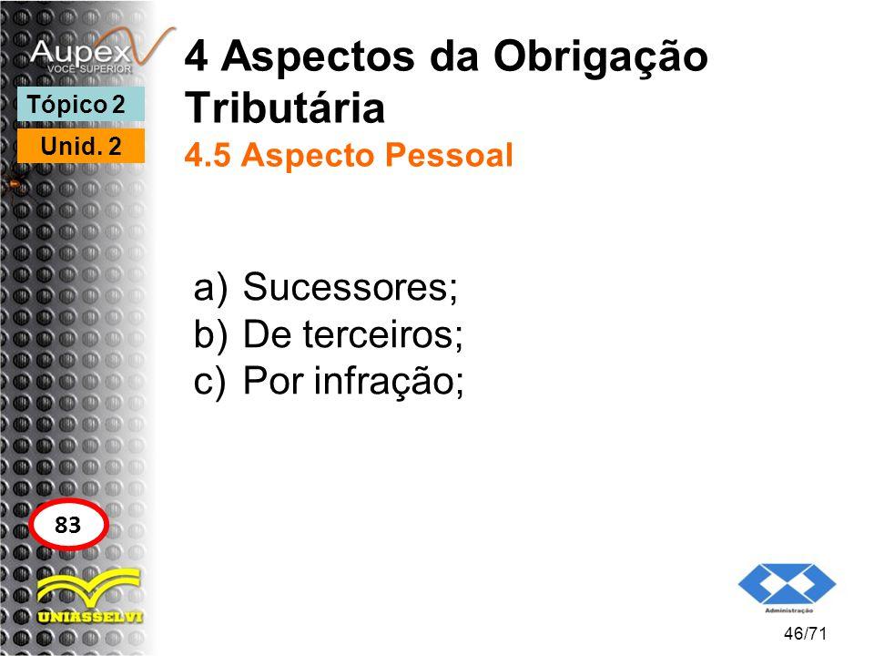 4 Aspectos da Obrigação Tributária 4.5 Aspecto Pessoal a)Sucessores; b)De terceiros; c)Por infração; 46/71 Tópico 2 Unid. 2 83
