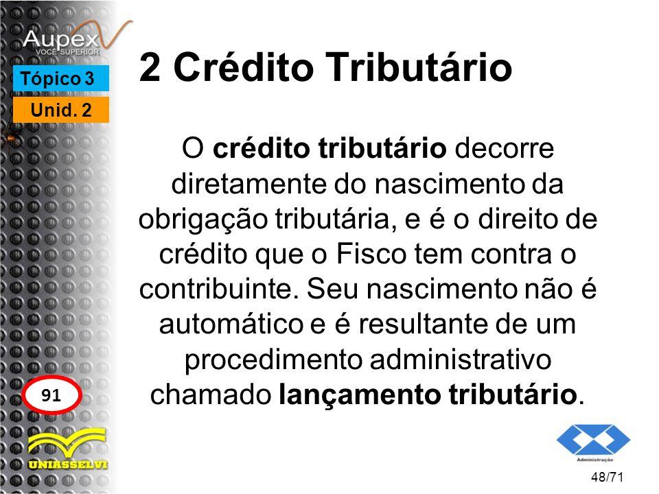 2 Crédito Tributário O crédito tributário decorre diretamente do nascimento da obrigação tributária, e é o direito de crédito que o Fisco tem contra o