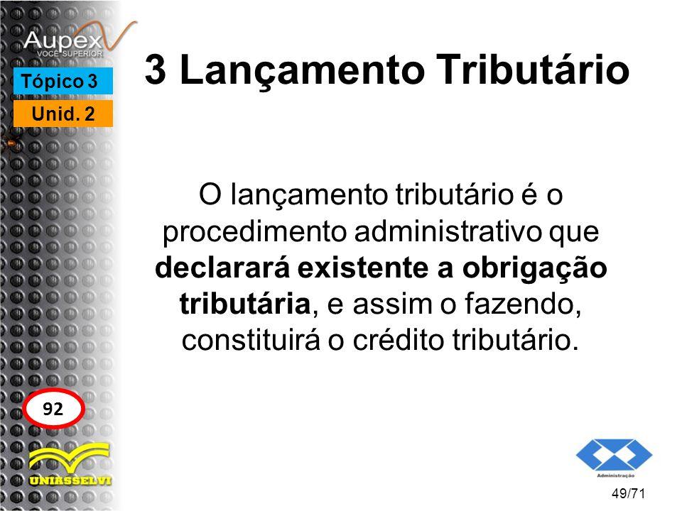 3 Lançamento Tributário O lançamento tributário é o procedimento administrativo que declarará existente a obrigação tributária, e assim o fazendo, con