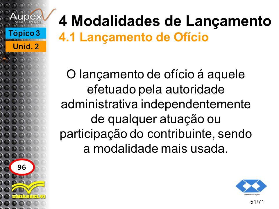 4 Modalidades de Lançamento 4.1 Lançamento de Ofício O lançamento de ofício á aquele efetuado pela autoridade administrativa independentemente de qual