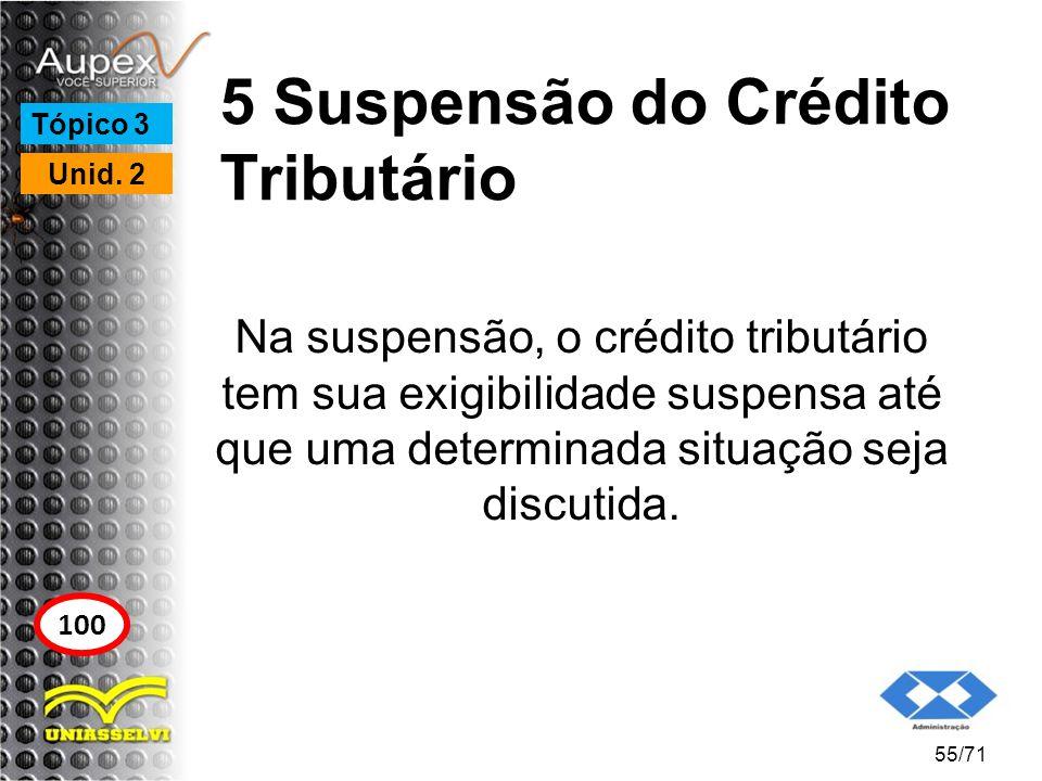 5 Suspensão do Crédito Tributário Na suspensão, o crédito tributário tem sua exigibilidade suspensa até que uma determinada situação seja discutida. 5