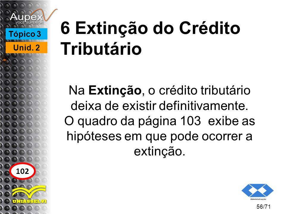 6 Extinção do Crédito Tributário Na Extinção, o crédito tributário deixa de existir definitivamente. O quadro da página 103 exibe as hipóteses em que