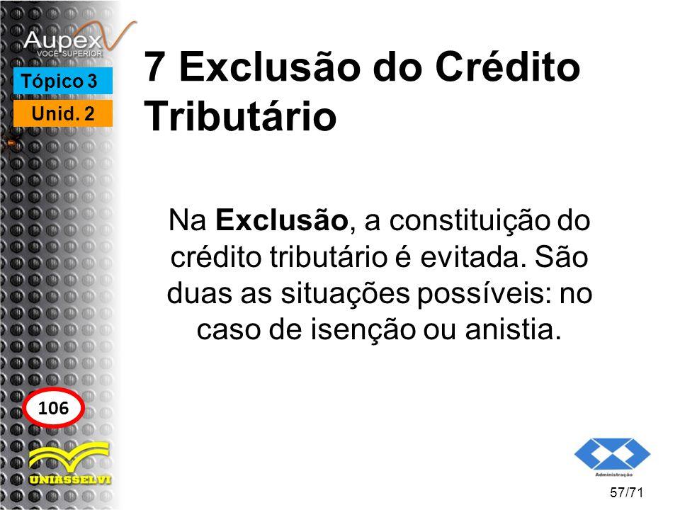 7 Exclusão do Crédito Tributário Na Exclusão, a constituição do crédito tributário é evitada. São duas as situações possíveis: no caso de isenção ou a