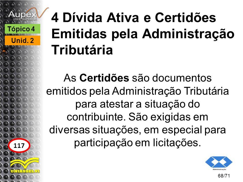 4 Dívida Ativa e Certidões Emitidas pela Administração Tributária As Certidões são documentos emitidos pela Administração Tributária para atestar a si