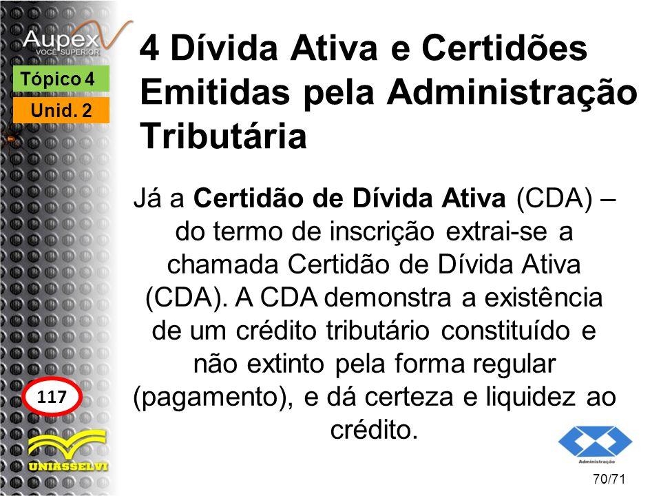 4 Dívida Ativa e Certidões Emitidas pela Administração Tributária Já a Certidão de Dívida Ativa (CDA) – do termo de inscrição extrai-se a chamada Cert