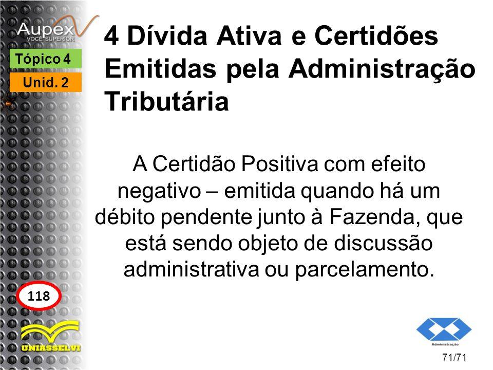 4 Dívida Ativa e Certidões Emitidas pela Administração Tributária A Certidão Positiva com efeito negativo – emitida quando há um débito pendente junto