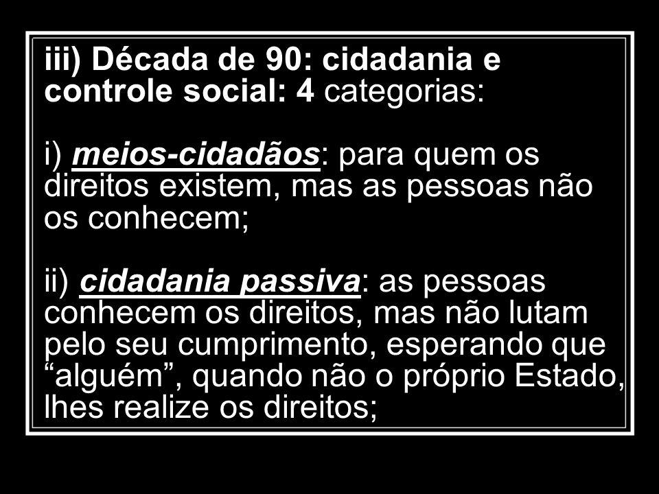 iii) Década de 90: cidadania e controle social: 4 categorias: i) meios-cidadãos: para quem os direitos existem, mas as pessoas não os conhecem; ii) ci