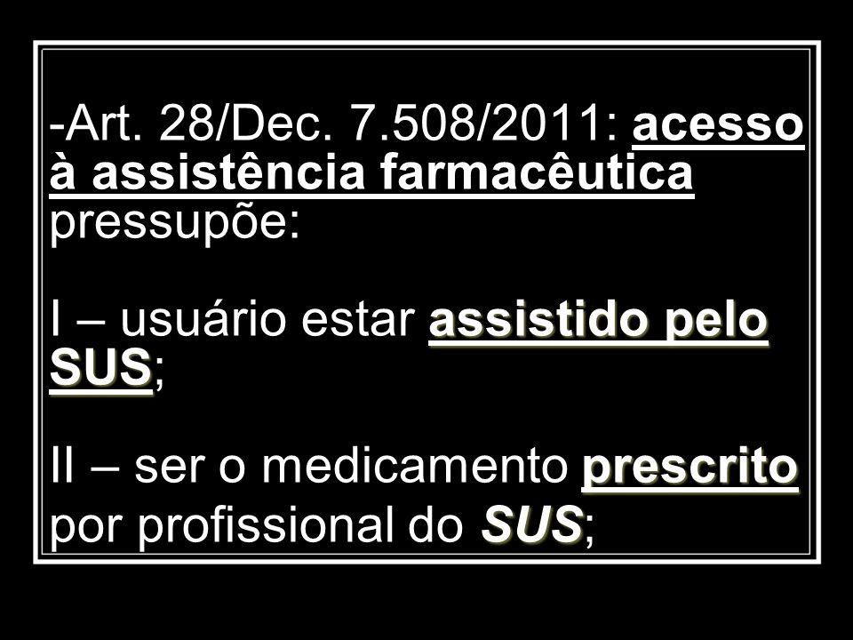 assistido pelo SUS prescrito SUS -Art. 28/Dec. 7.508/2011: acesso à assistência farmacêutica pressupõe: I – usuário estar assistido pelo SUS; II – ser