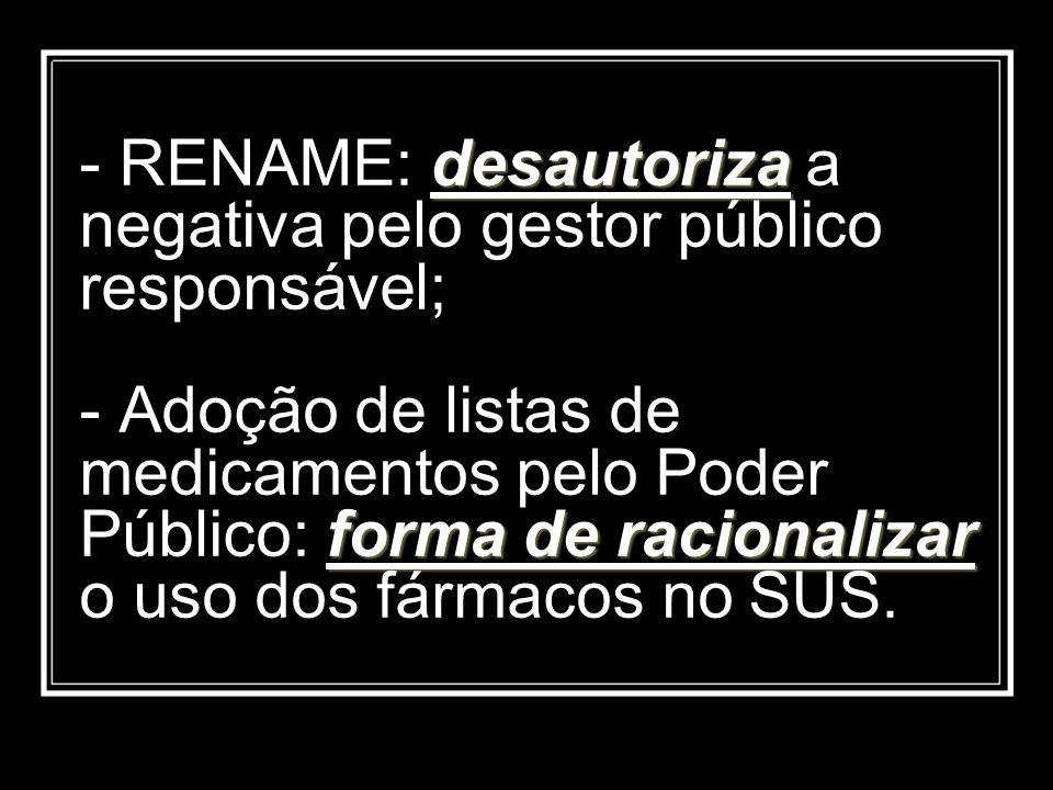 desautoriza forma de racionalizar - RENAME: desautoriza a negativa pelo gestor público responsável; - Adoção de listas de medicamentos pelo Poder Públ