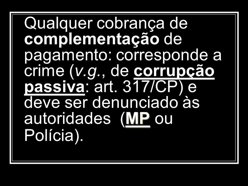 MP Qualquer cobrança de complementação de pagamento: corresponde a crime (v.g., de corrupção passiva: art. 317/CP) e deve ser denunciado às autoridade