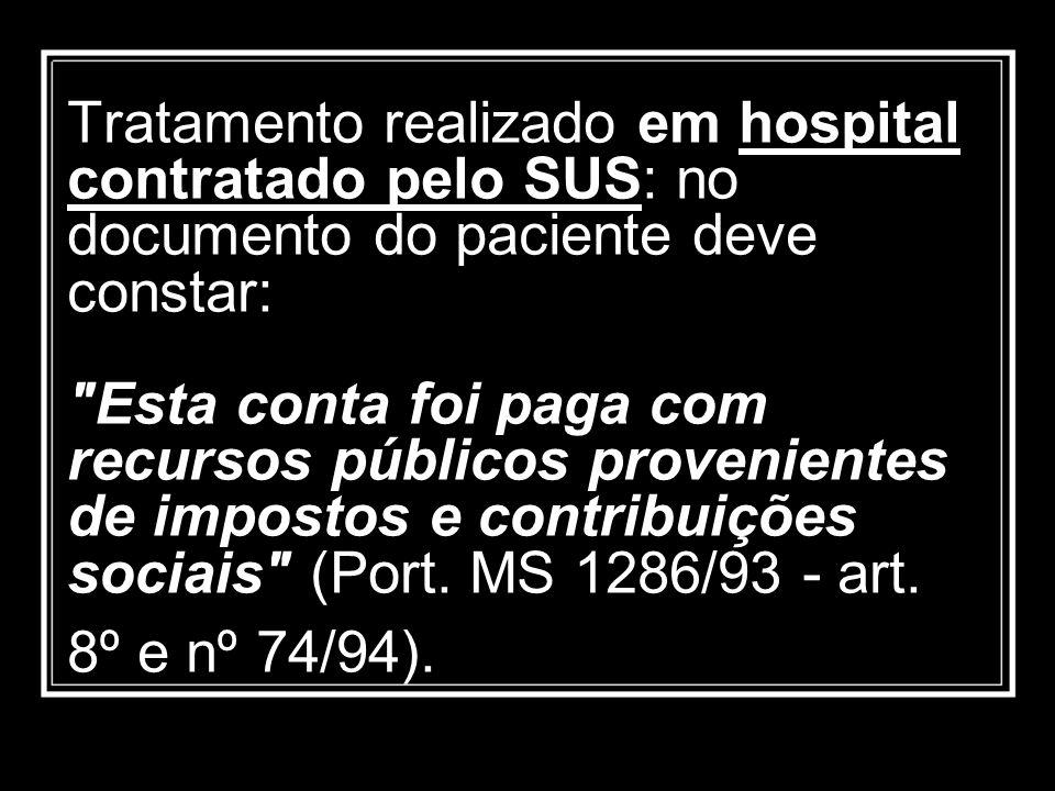 Tratamento realizado em hospital contratado pelo SUS: no documento do paciente deve constar: