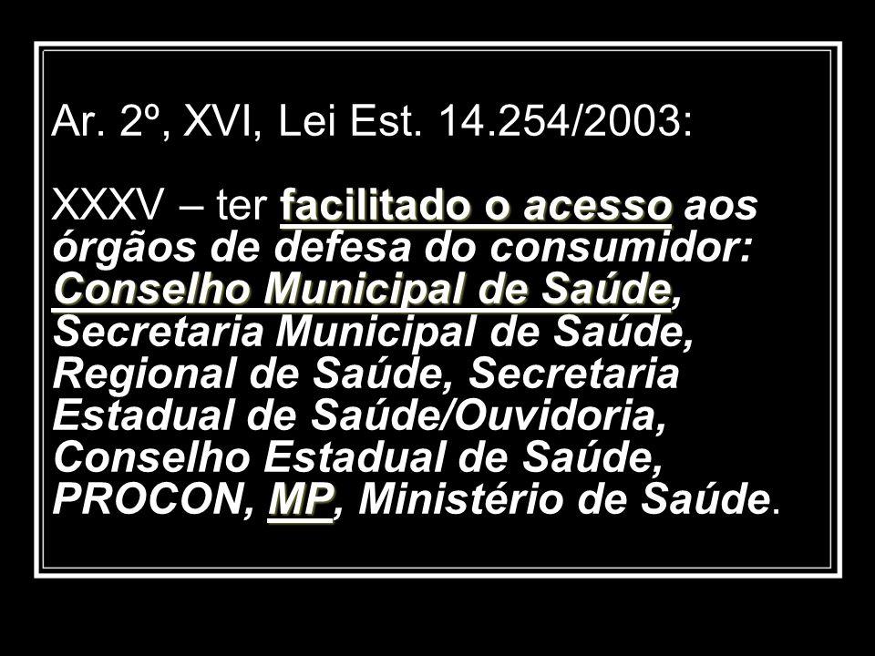 facilitado o acesso Conselho Municipal de Saúde MP Ar. 2º, XVI, Lei Est. 14.254/2003: XXXV – ter facilitado o acesso aos órgãos de defesa do consumido